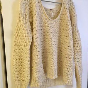 Free People chunky cream knit sweater